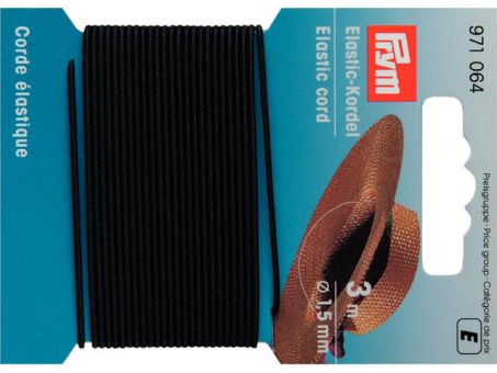 Prym Elastic-Kordel - 1,5mm Schwarz