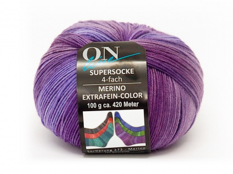 Supersocke 100 (Merino Extrafein Color) - Lilatöne 2388