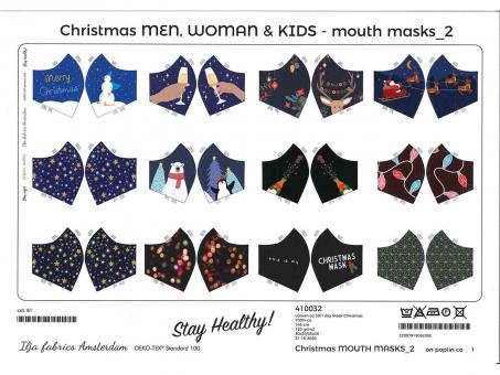 Maskenstoff Weihnachten blau