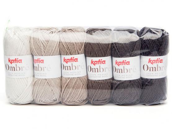 Ombre Material Packung mit 6 farblich abgestimmten Knäuel grau
