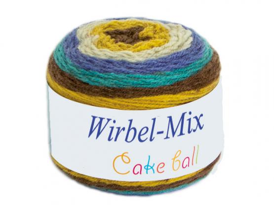Wirbel-Mix Farbverlaufgarn blau-gelb-braun