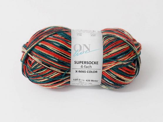 Sockenwolle SUPERSOCKE 100  Xmas COLOR .2190