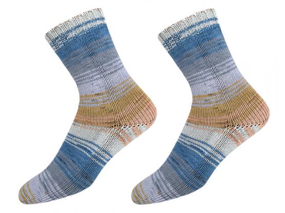 Sockenwolle Sensitive Socks blau-braun-weiss
