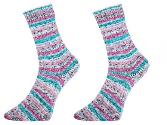 Sockenwolle Bamboo Socks color fuchsia-türkis-pink
